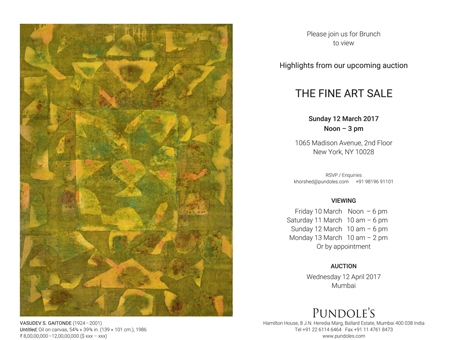 Pundole's Auction Preview, New York, 12 March 2017